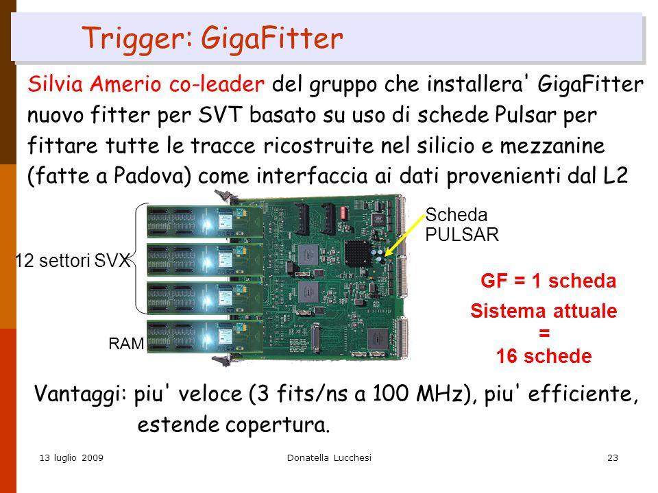 13 luglio 2009Donatella Lucchesi23 Trigger: GigaFitter Silvia Amerio co-leader del gruppo che installera GigaFitter nuovo fitter per SVT basato su uso di schede Pulsar per fittare tutte le tracce ricostruite nel silicio e mezzanine (fatte a Padova) come interfaccia ai dati provenienti dal L2 12 settori SVX RAM Sistema attuale = 16 schede GF = 1 scheda Scheda PULSAR Vantaggi: piu veloce (3 fits/ns a 100 MHz), piu efficiente, estende copertura.