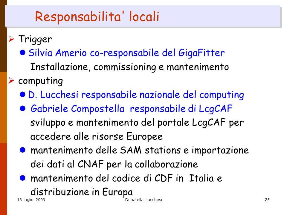 13 luglio 2009Donatella Lucchesi25 Responsabilita locali  Trigger Silvia Amerio co-responsabile del GigaFitter Installazione, commissioning e mantenimento  computing D.