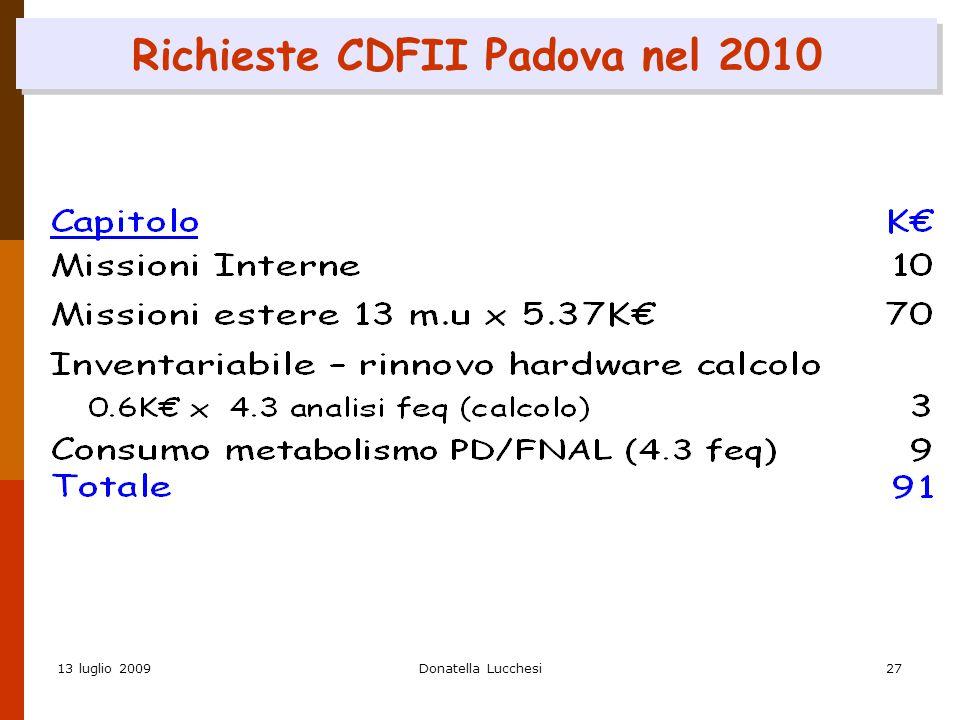 13 luglio 2009Donatella Lucchesi27 Richieste CDFII Padova nel 2010