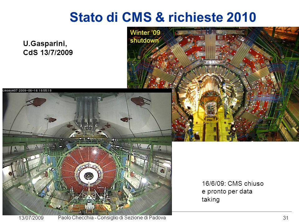 13/07/2009 Paolo Checchia - Consiglio di Sezione di Padova 31 Stato di CMS & richieste 2010 U.Gasparini, CdS 13/7/2009 Winter '09 shutdown 16/6/09: CMS chiuso e pronto per data taking