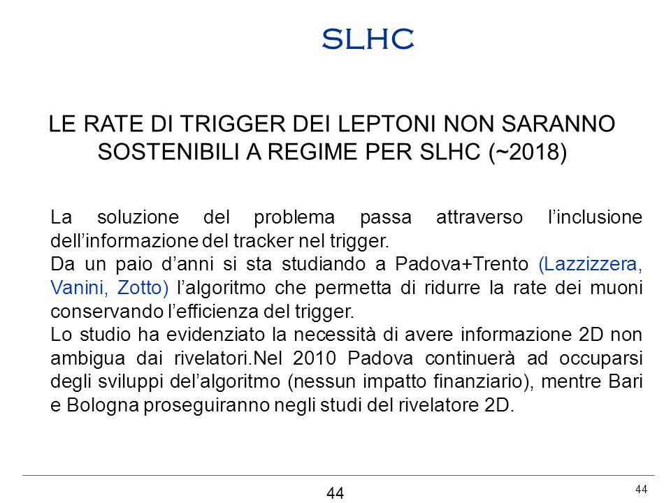 44 SLHC LE RATE DI TRIGGER DEI LEPTONI NON SARANNO SOSTENIBILI A REGIME PER SLHC (~2018) La soluzione del problema passa attraverso l'inclusione dell'informazione del tracker nel trigger.