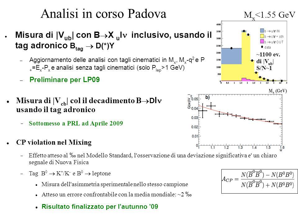 Analisi in corso Padova ● Misura di |V ub | con B  X u l  inclusivo, usando il tag adronico B tag  D(*)Y – Aggiornamento delle analisi con tagli cinematici in M x, M x -q 2 e P + =E x -P x e analisi senza tagli cinematici (solo P lep >1 GeV) – Preliminare per LP09 ~1100 ev.