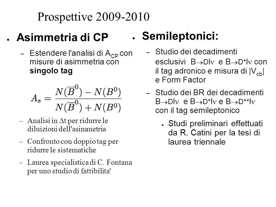 Prospettive 2009-2010 ● Semileptonici: – Studio dei decadimenti esclusivi B  D l  e B  D* l con il tag adronico e misura di |V cb | e Form Factor – Studio dei BR dei decadimenti B  D l  e B  D* l e B  D** l con il tag semileptonico ● Studi preliminari effettuati da R.