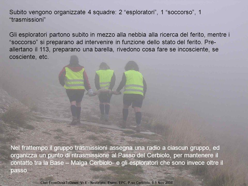 """Subito vengono organizzate 4 squadre: 2 """"esploratori"""", 1 """"soccorso"""", 1 """"trasmissioni"""" Gli esploratori partono subito in mezzo alla nebbia alla ricerca"""