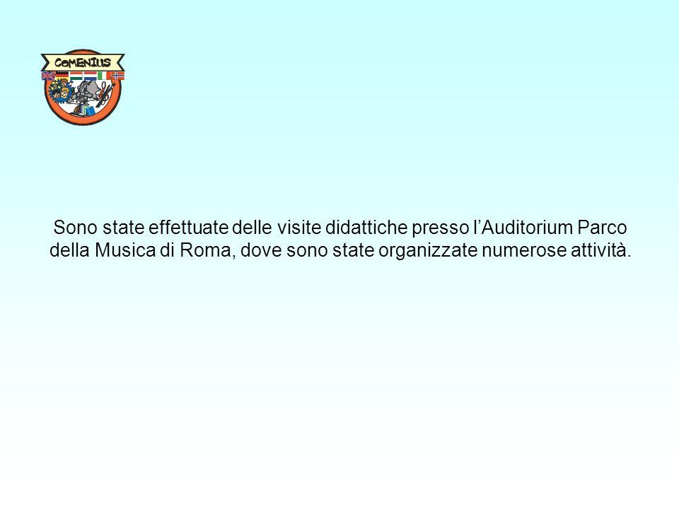 Sono state effettuate delle visite didattiche presso l'Auditorium Parco della Musica di Roma, dove sono state organizzate numerose attività.