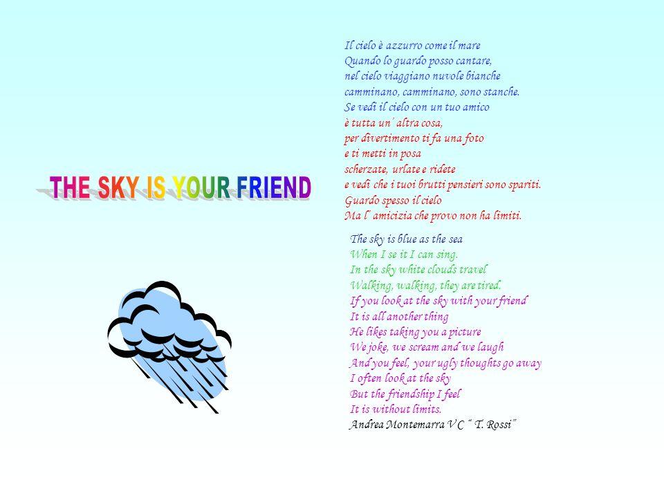 Il cielo è azzurro come il mare Quando lo guardo posso cantare, nel cielo viaggiano nuvole bianche camminano, camminano, sono stanche. Se vedi il ciel