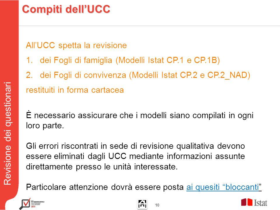 Revisione dei questionari 10 All'UCC spetta la revisione 1.dei Fogli di famiglia (Modelli Istat CP.1 e CP.1B) 2.dei Fogli di convivenza (Modelli Istat CP.2 e CP.2_NAD) restituiti in forma cartacea È necessario assicurare che i modelli siano compilati in ogni loro parte.
