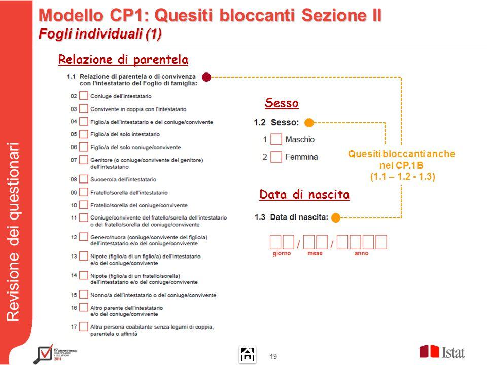 Revisione dei questionari 19 Relazione di parentela Data di nascita Sesso Quesiti bloccanti anche nel CP.1B (1.1 – 1.2 - 1.3) Modello CP1: Quesiti bloccanti Sezione II Fogli individuali (1)