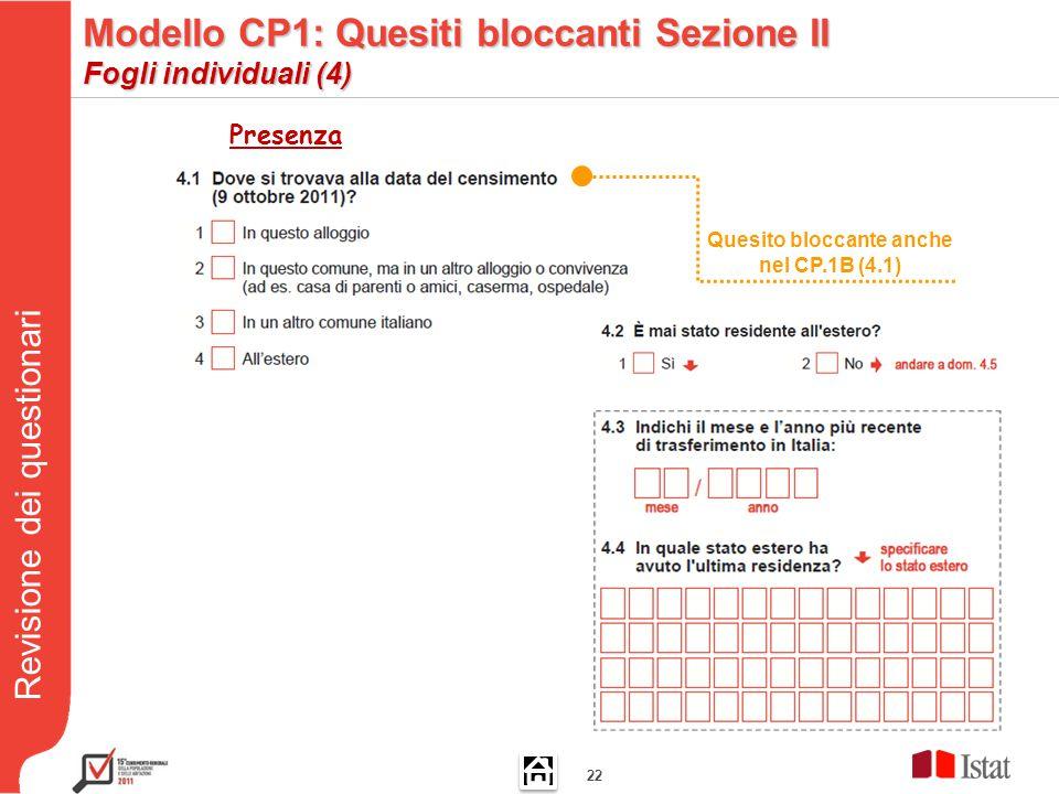 Revisione dei questionari 22 Quesito bloccante anche nel CP.1B (4.1) Presenza Modello CP1: Quesiti bloccanti Sezione II Fogli individuali (4)