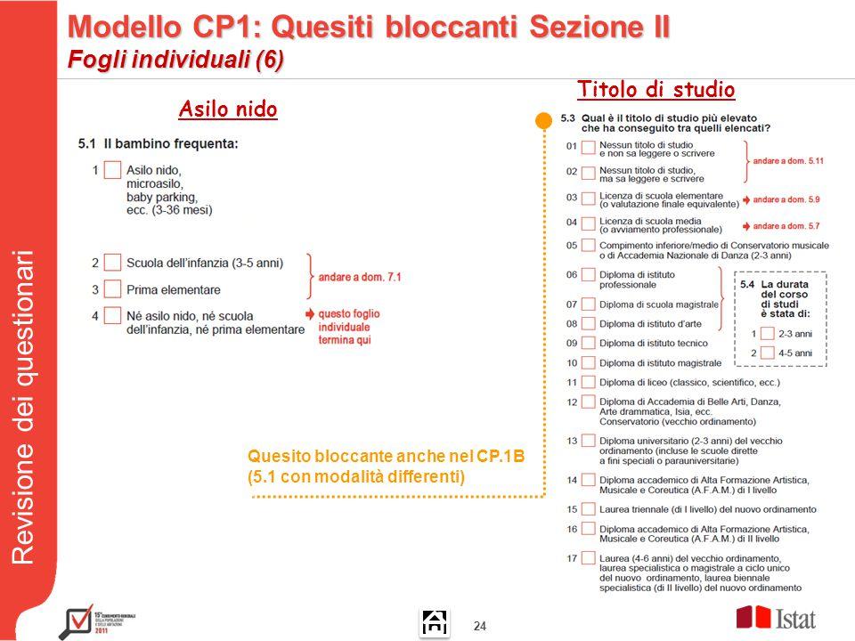 Revisione dei questionari 24 Asilo nido Titolo di studio Quesito bloccante anche nel CP.1B (5.1 con modalità differenti) Modello CP1: Quesiti bloccanti Sezione II Fogli individuali (6)
