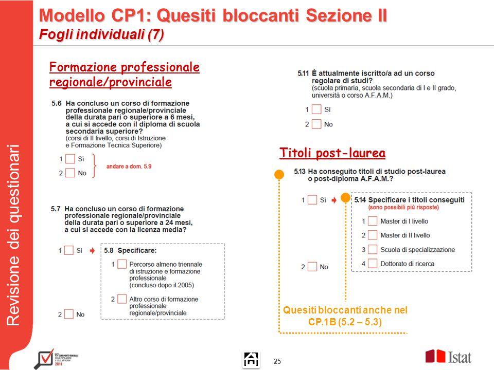 Revisione dei questionari 25 Quesiti bloccanti anche nel CP.1B (5.2 – 5.3) Formazione professionale regionale/provinciale Titoli post-laurea Modello CP1: Quesiti bloccanti Sezione II Fogli individuali (7)