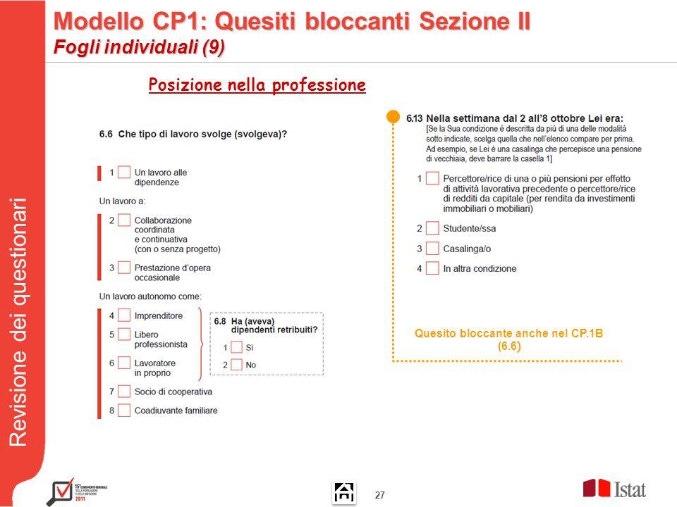 Revisione dei questionari 27 Quesito bloccante anche nel CP.1B (6.6 ) Posizione nella professione Modello CP1: Quesiti bloccanti Sezione II Fogli individuali (9)