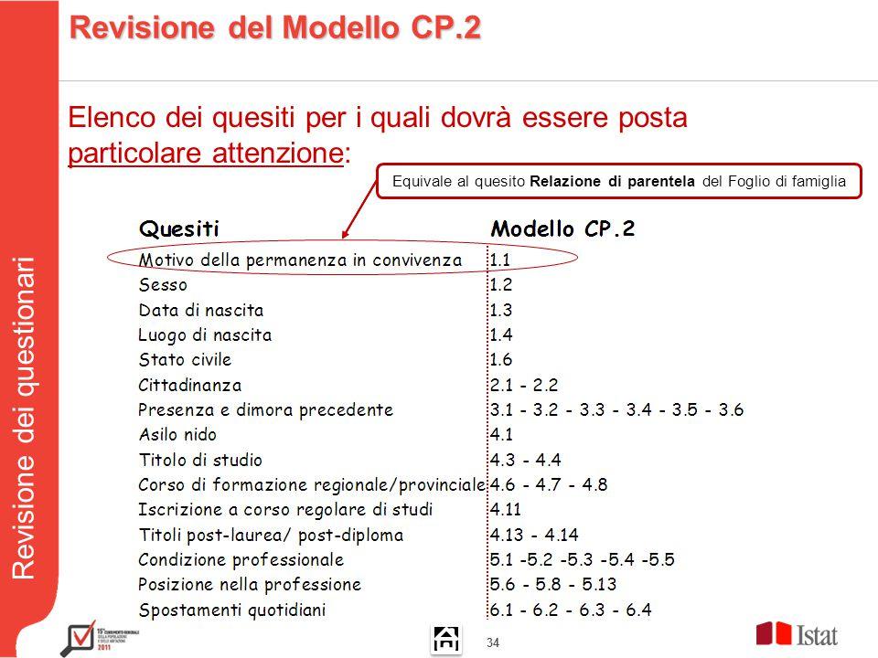 Revisione dei questionari 34 Equivale al quesito Relazione di parentela del Foglio di famiglia Elenco dei quesiti per i quali dovrà essere posta particolare attenzione: Revisione del Modello CP.2