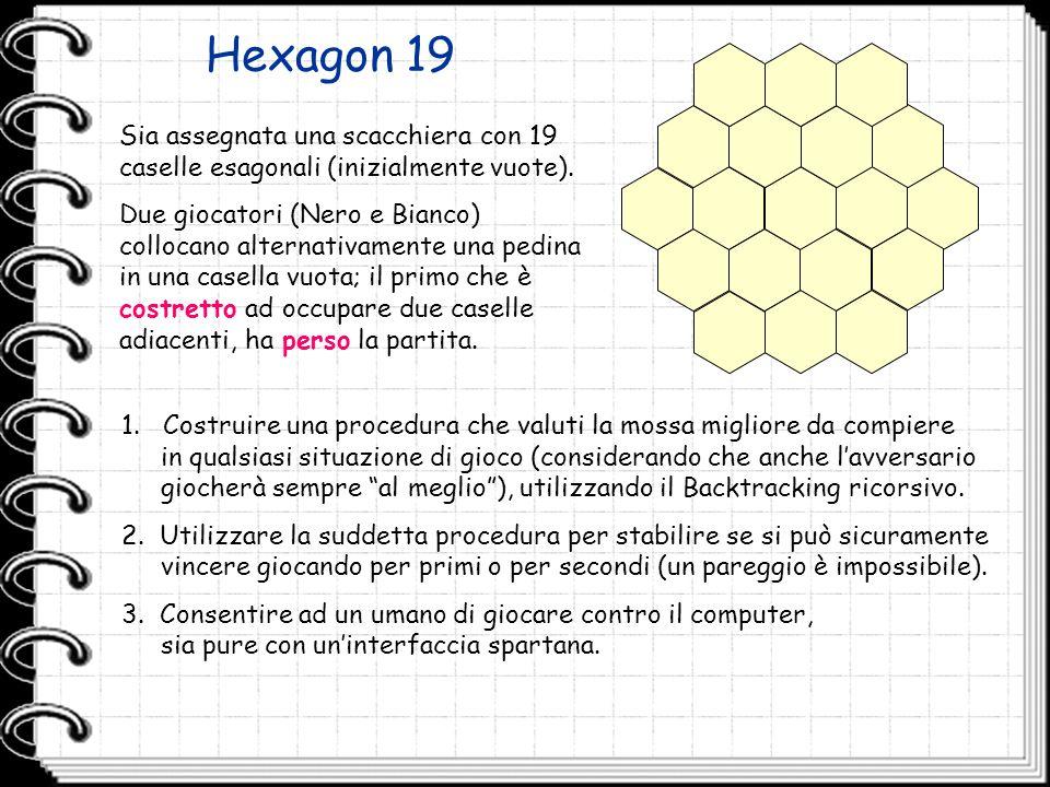 Hexagon 19 Sia assegnata una scacchiera con 19 caselle esagonali (inizialmente vuote). Due giocatori (Nero e Bianco) collocano alternativamente una pe