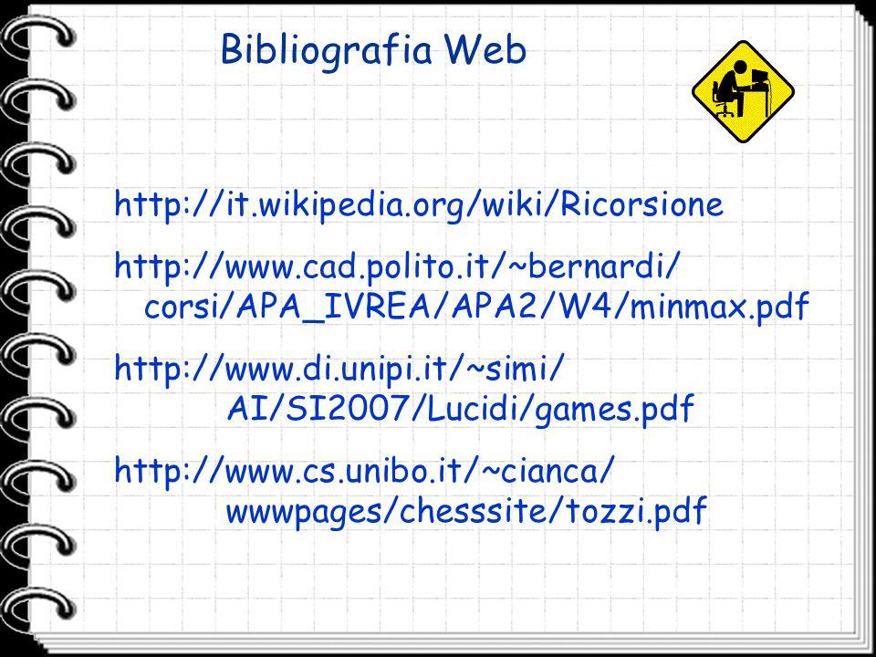 Bibliografia Web http://it.wikipedia.org/wiki/Ricorsione http://www.cad.polito.it/~bernardi/ corsi/APA_IVREA/APA2/W4/minmax.pdf http://www.di.unipi.it