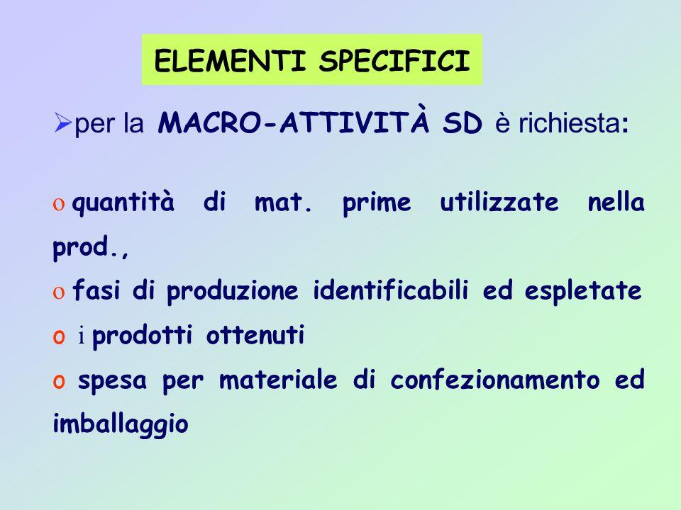 ELEMENTI SPECIFICI  per la MACRO-ATTIVITÀ SD è richiesta: o quantità di mat.