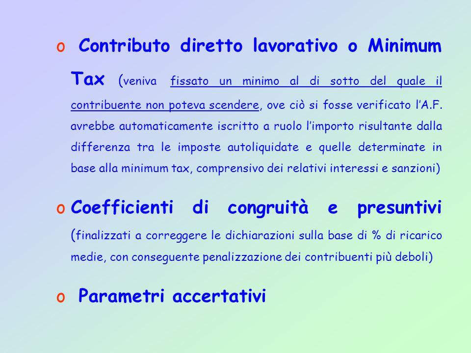 o Contributo diretto lavorativo o Minimum Tax ( veniva fissato un minimo al di sotto del quale il contribuente non poteva scendere, ove ciò si fosse verificato l'A.F.