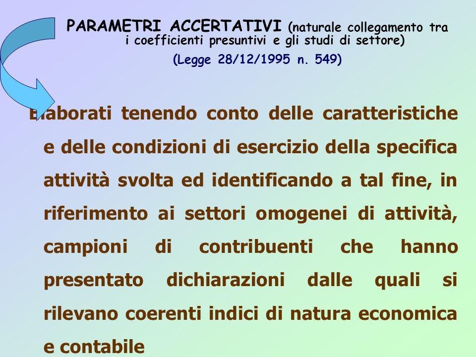 PARAMETRI ACCERTATIVI (naturale collegamento tra i coefficienti presuntivi e gli studi di settore) (Legge 28/12/1995 n.
