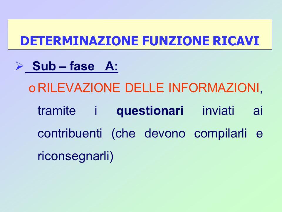 Sub – fase A: oRILEVAZIONE DELLE INFORMAZIONI, tramite i questionari inviati ai contribuenti (che devono compilarli e riconsegnarli) DETERMINAZIONE FUNZIONE RICAVI