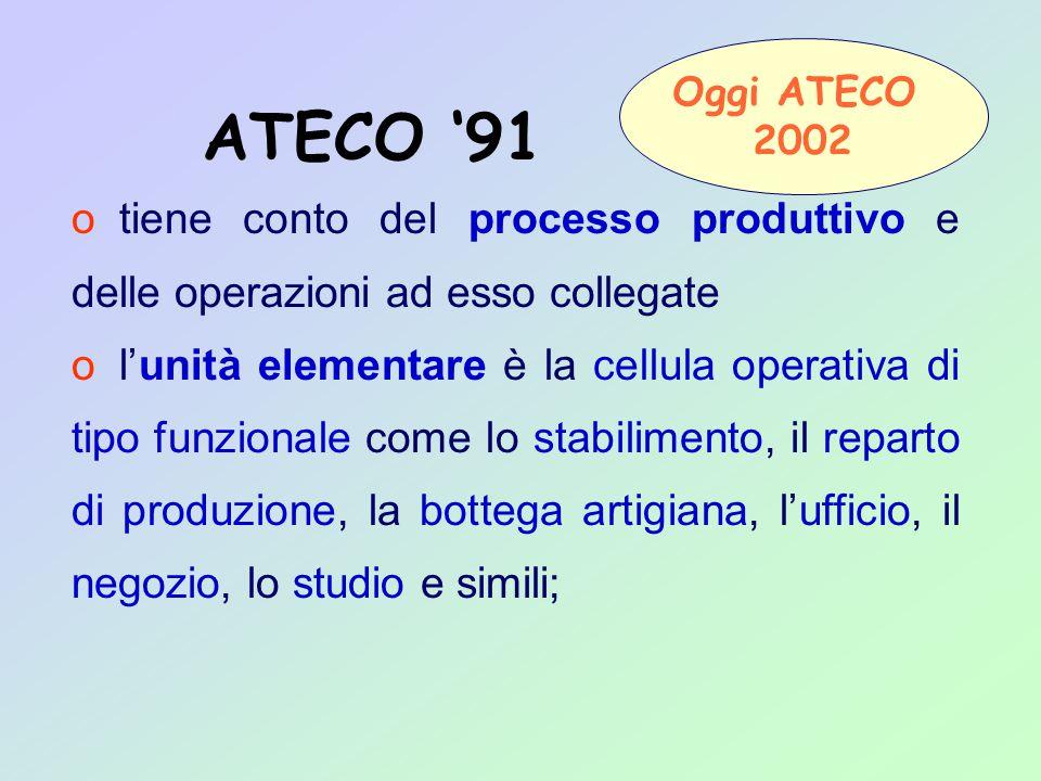 o tiene conto del processo produttivo e delle operazioni ad esso collegate o l'unità elementare è la cellula operativa di tipo funzionale come lo stabilimento, il reparto di produzione, la bottega artigiana, l'ufficio, il negozio, lo studio e simili; ATECO '91 Oggi ATECO 2002