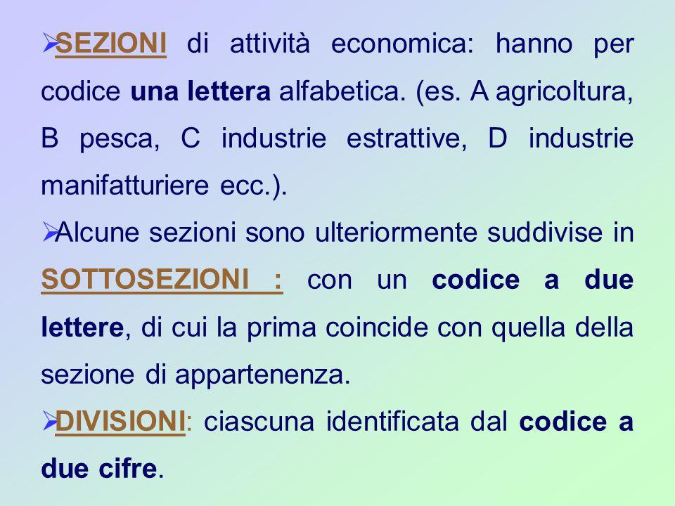  SEZIONI di attività economica: hanno per codice una lettera alfabetica.