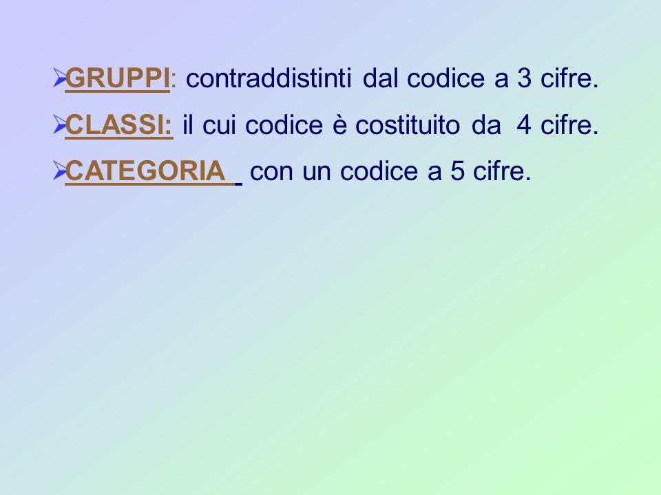  GRUPPI: contraddistinti dal codice a 3 cifre.  CLASSI: il cui codice è costituito da 4 cifre.