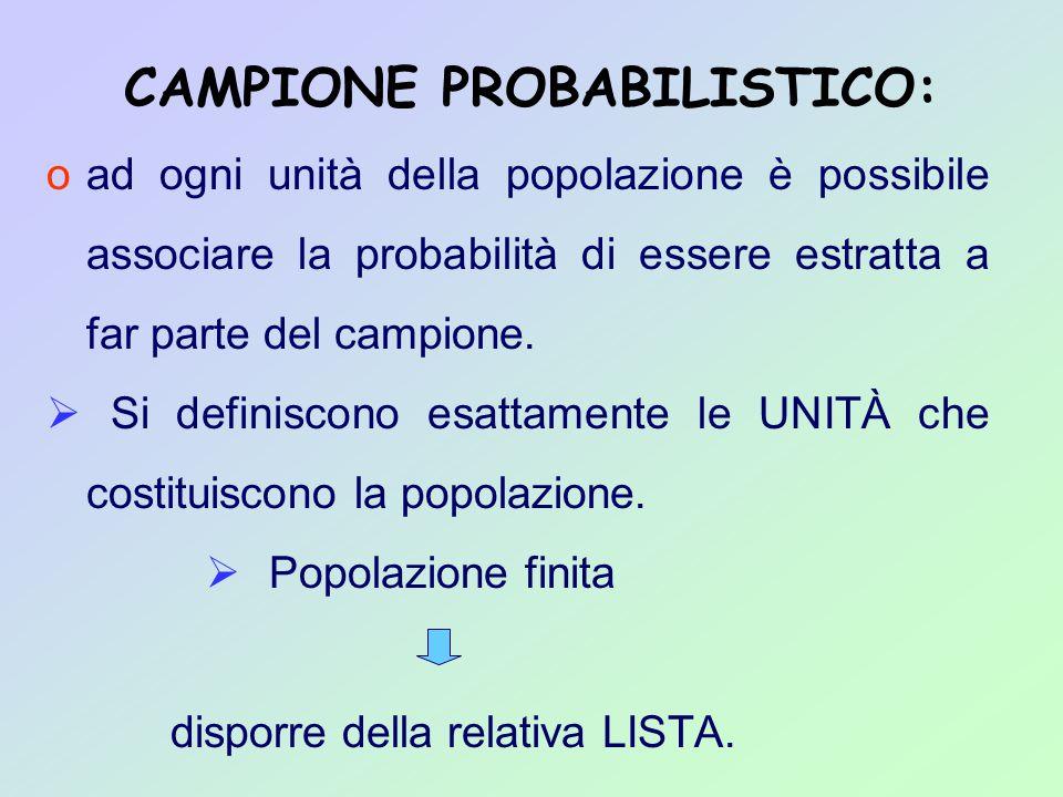 CAMPIONE PROBABILISTICO: oad ogni unità della popolazione è possibile associare la probabilità di essere estratta a far parte del campione.