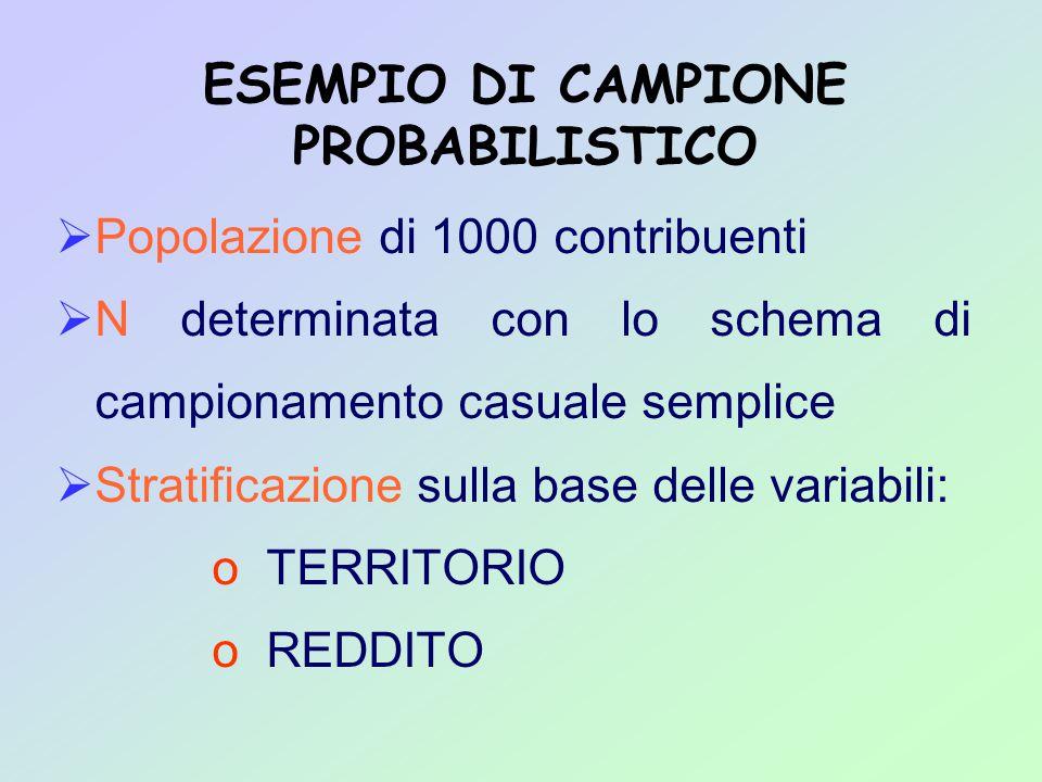 Popolazione di 1000 contribuenti  N determinata con lo schema di campionamento casuale semplice  Stratificazione sulla base delle variabili: o TERRITORIO o REDDITO ESEMPIO DI CAMPIONE PROBABILISTICO