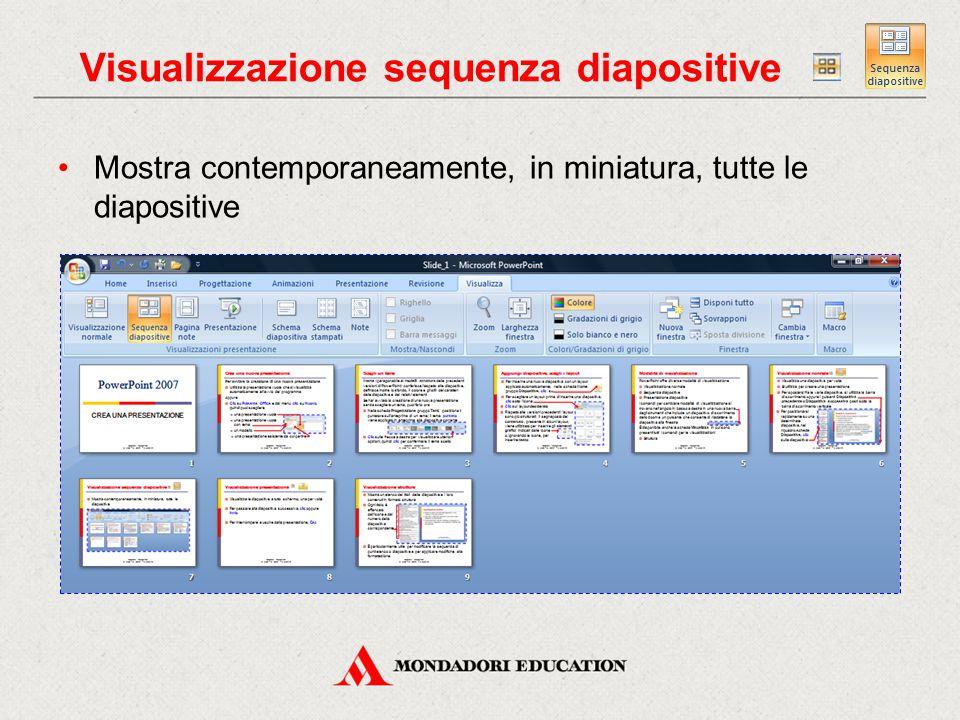 Visualizzazione presentazione Visualizza le diapositive a tutto schermo, una per volta Per passare alla diapositiva successiva, clic oppure Invio Per interrompere e uscire dalla presentazione, Esc