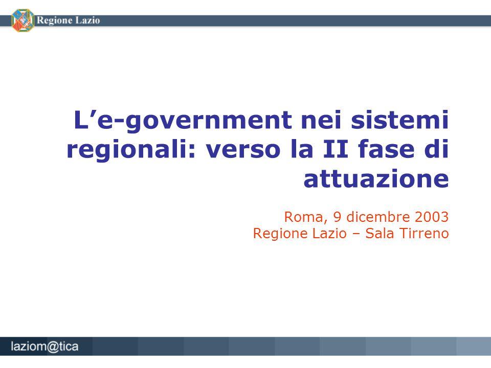 L'e-government nei sistemi regionali: verso la II fase di attuazione Roma, 9 dicembre 2003 Regione Lazio – Sala Tirreno