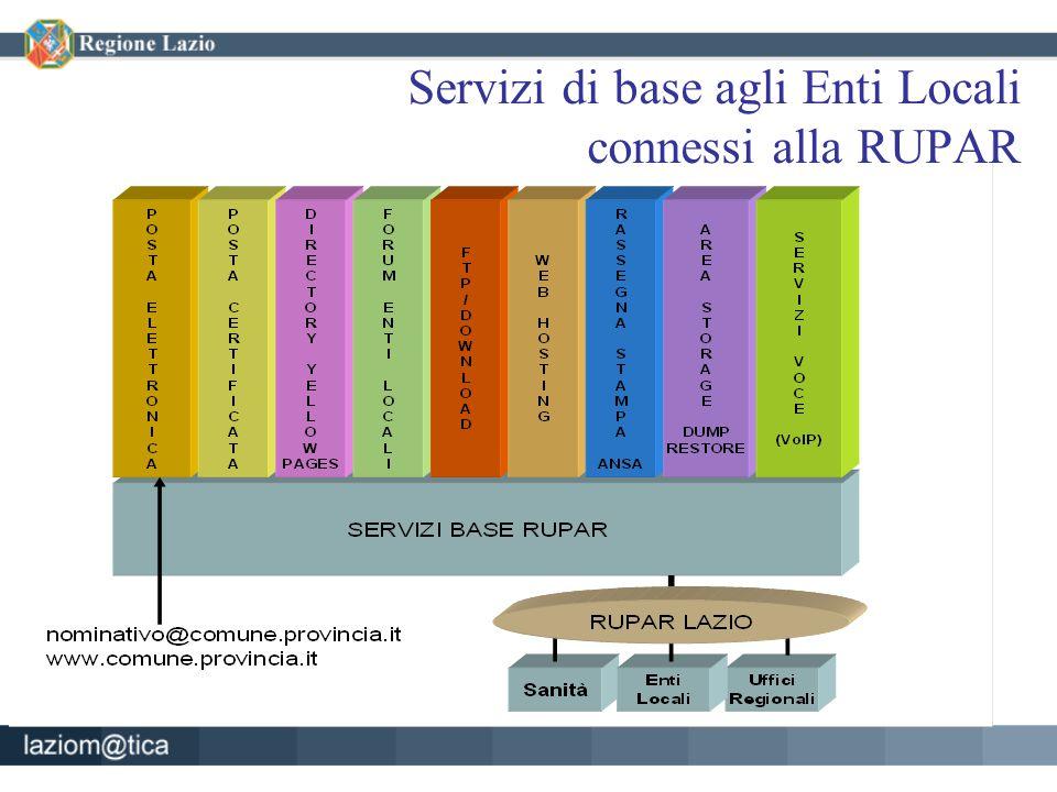Servizi di base agli Enti Locali connessi alla RUPAR
