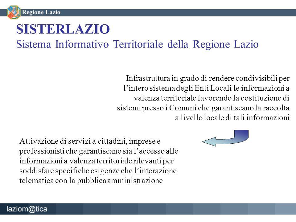 SISTERLAZIO Sistema Informativo Territoriale della Regione Lazio Infrastruttura in grado di rendere condivisibili per l'intero sistema degli Enti Loca