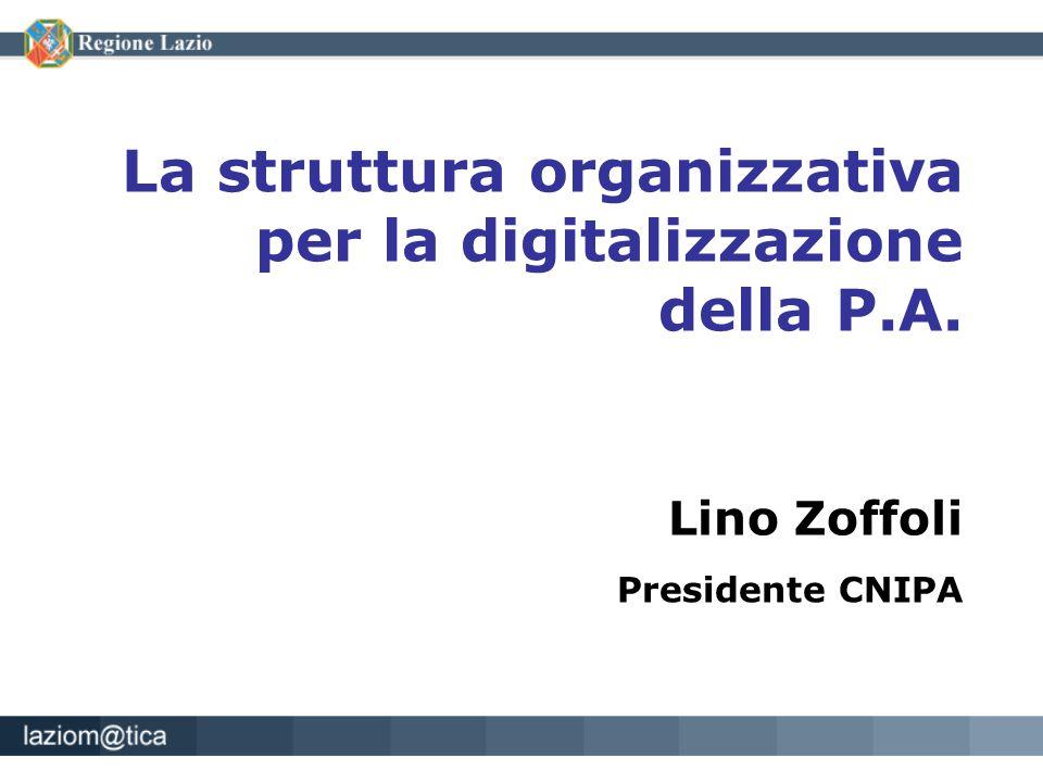La struttura organizzativa per la digitalizzazione della P.A. Lino Zoffoli Presidente CNIPA