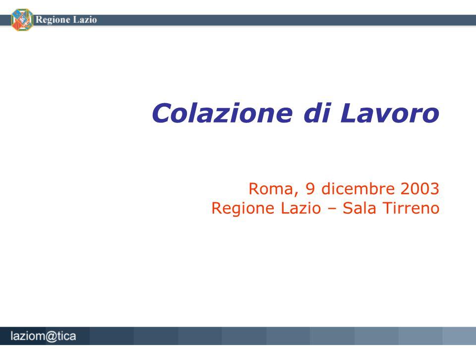 Colazione di Lavoro Roma, 9 dicembre 2003 Regione Lazio – Sala Tirreno