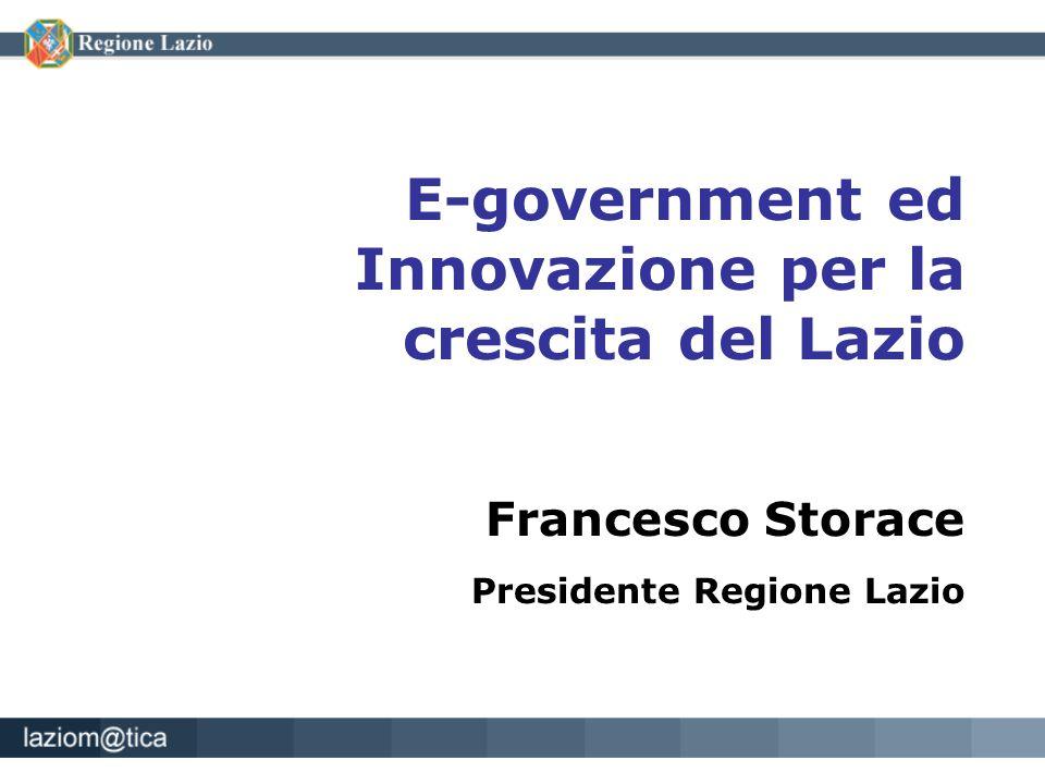 E-government ed Innovazione per la crescita del Lazio Francesco Storace Presidente Regione Lazio