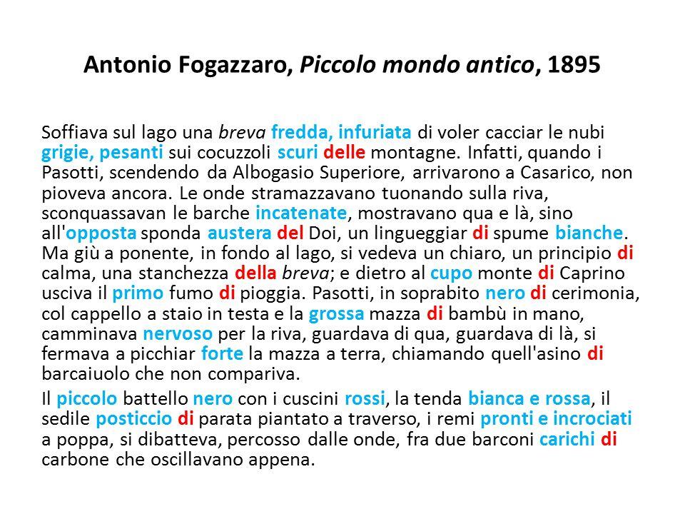 Antonio Fogazzaro, Piccolo mondo antico, 1895 Soffiava sul lago una breva fredda, infuriata di voler cacciar le nubi grigie, pesanti sui cocuzzoli scu