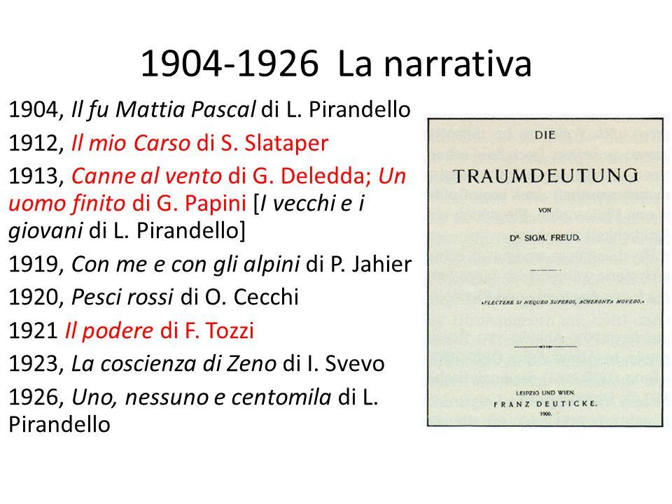 1904-1926 La narrativa 1904, Il fu Mattia Pascal di L. Pirandello 1912, Il mio Carso di S. Slataper 1913, Canne al vento di G. Deledda; Un uomo finito