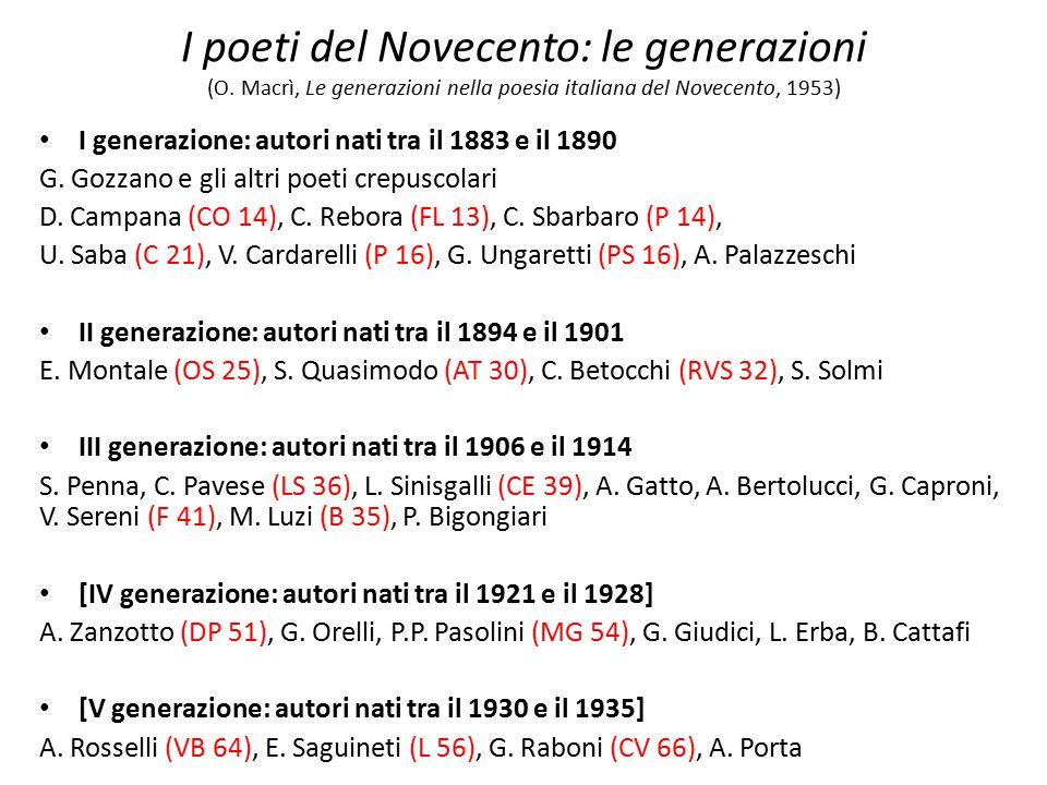 I poeti del Novecento: le generazioni (O. Macrì, Le generazioni nella poesia italiana del Novecento, 1953) I generazione: autori nati tra il 1883 e il