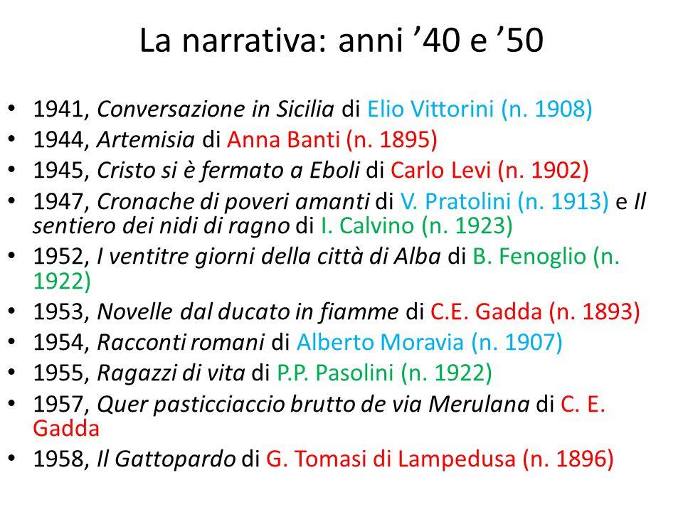 La narrativa: anni '40 e '50 1941, Conversazione in Sicilia di Elio Vittorini (n. 1908) 1944, Artemisia di Anna Banti (n. 1895) 1945, Cristo si è ferm