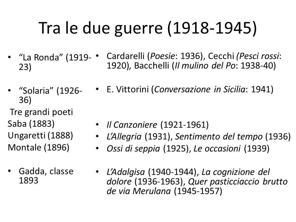 """Tra le due guerre (1918-1945) """"La Ronda"""" (1919- 23) """"Solaria"""" (1926- 36) Tre grandi poeti Saba (1883) Ungaretti (1888) Montale (1896) Gadda, classe 18"""