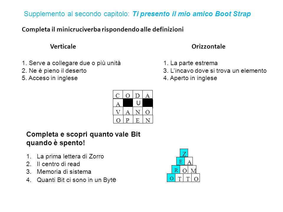 Completa il minicruciverba rispondendo alle definizioni VerticaleOrizzontale 1. Serve a collegare due o più unità1. La parte estrema 2. Ne è pieno il