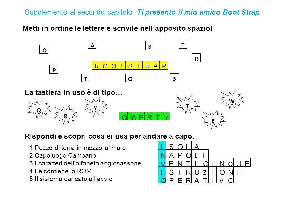 Metti in ordine le lettere e scrivile nell'apposito spazio! Rispondi e scopri cosa si usa per andare a capo. Supplemento al secondo capitolo: Ti prese
