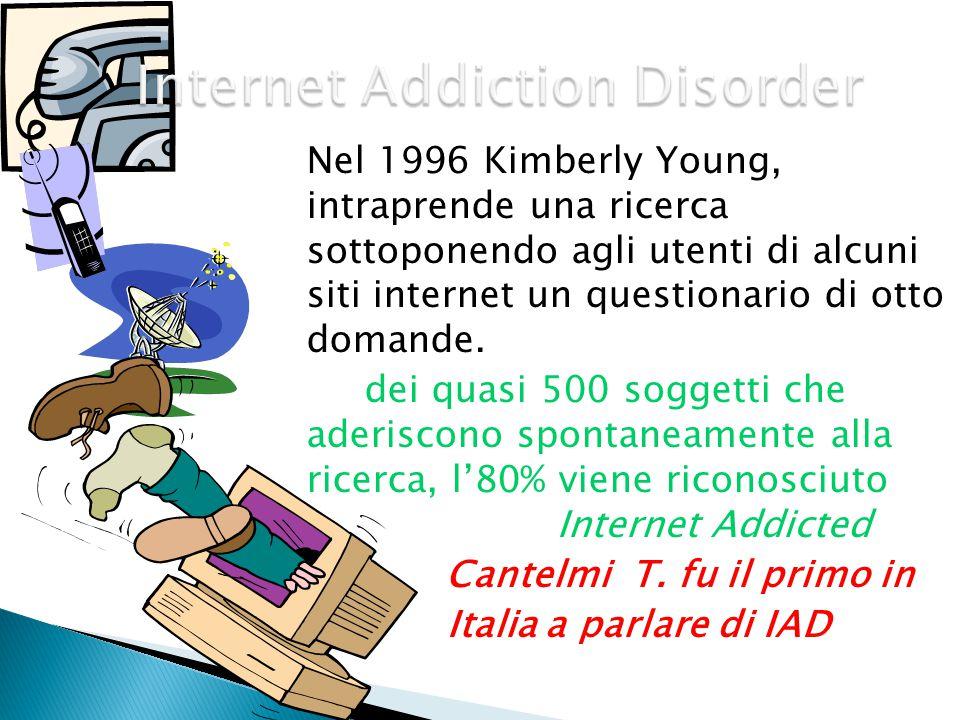 Nel 1996 Kimberly Young, intraprende una ricerca sottoponendo agli utenti di alcuni siti internet un questionario di otto domande. dei quasi 500 sogge