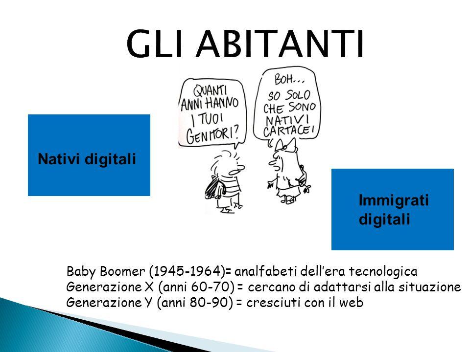 GLI ABITANTI Nativi digitali Immigrati digitali Baby Boomer (1945-1964)= analfabeti dell'era tecnologica Generazione X (anni 60-70) = cercano di adatt