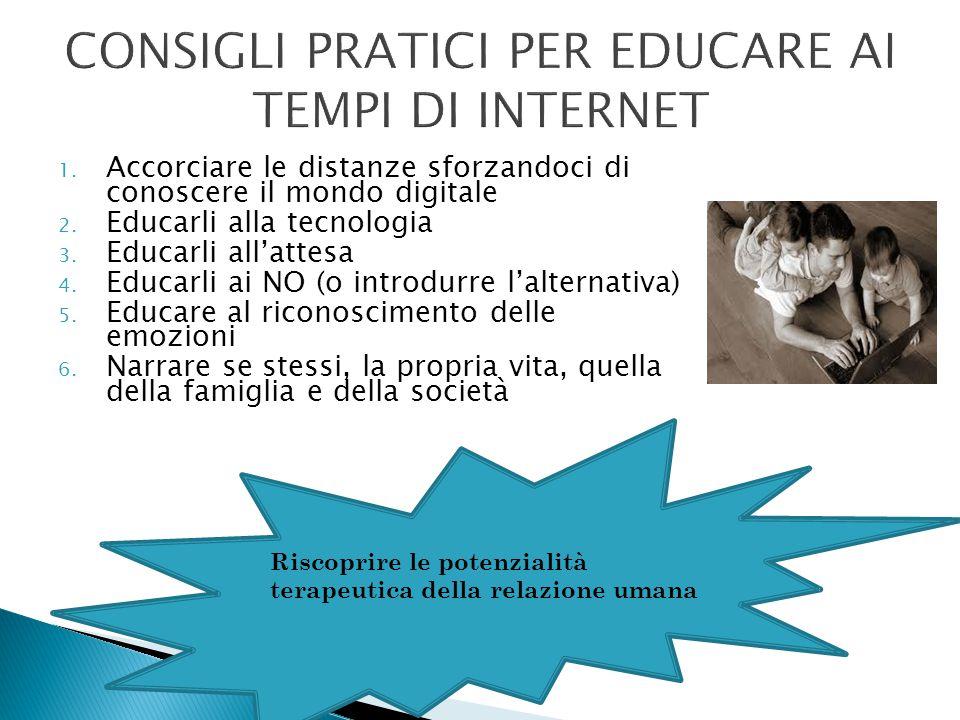 CONSIGLI PRATICI PER EDUCARE AI TEMPI DI INTERNET 1. Accorciare le distanze sforzandoci di conoscere il mondo digitale 2. Educarli alla tecnologia 3.
