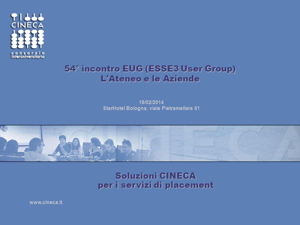 www.cineca.it 54° incontro EUG (ESSE3 User Group) L'Ateneo e le Aziende 18/02/2014 StarHotel Bologna, viale Pietramellara 51 Soluzioni CINECA per i se