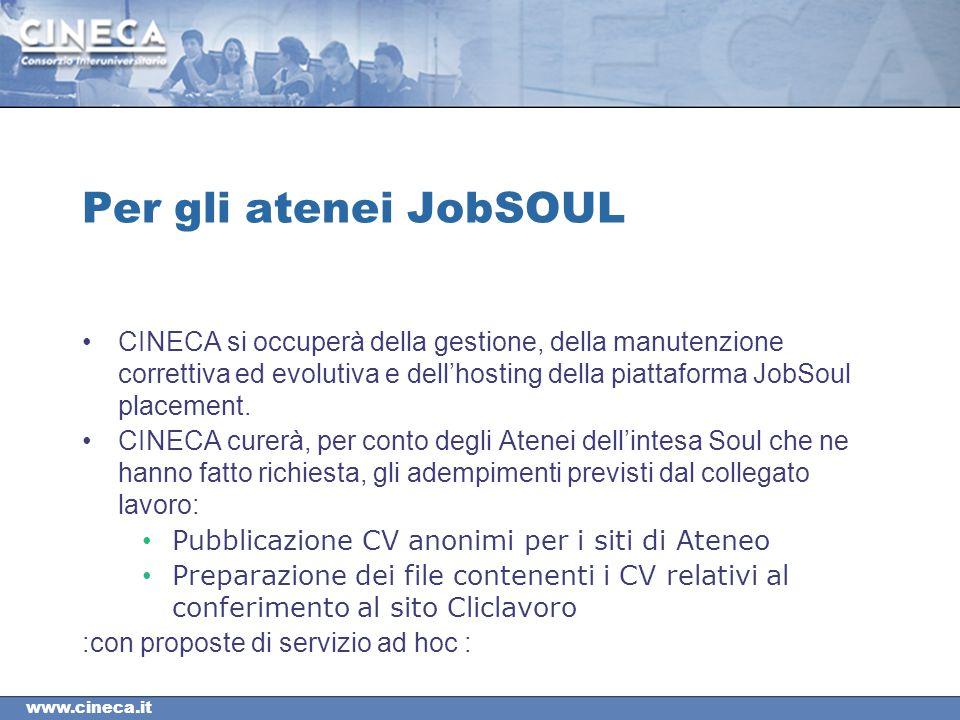 www.cineca.it Per gli atenei JobSOUL CINECA si occuperà della gestione, della manutenzione correttiva ed evolutiva e dell'hosting della piattaforma JobSoul placement.