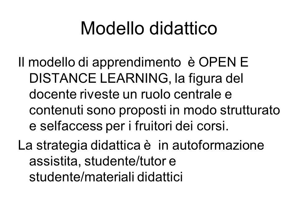 Modello didattico Il modello di apprendimento è OPEN E DISTANCE LEARNING, la figura del docente riveste un ruolo centrale e contenuti sono proposti in