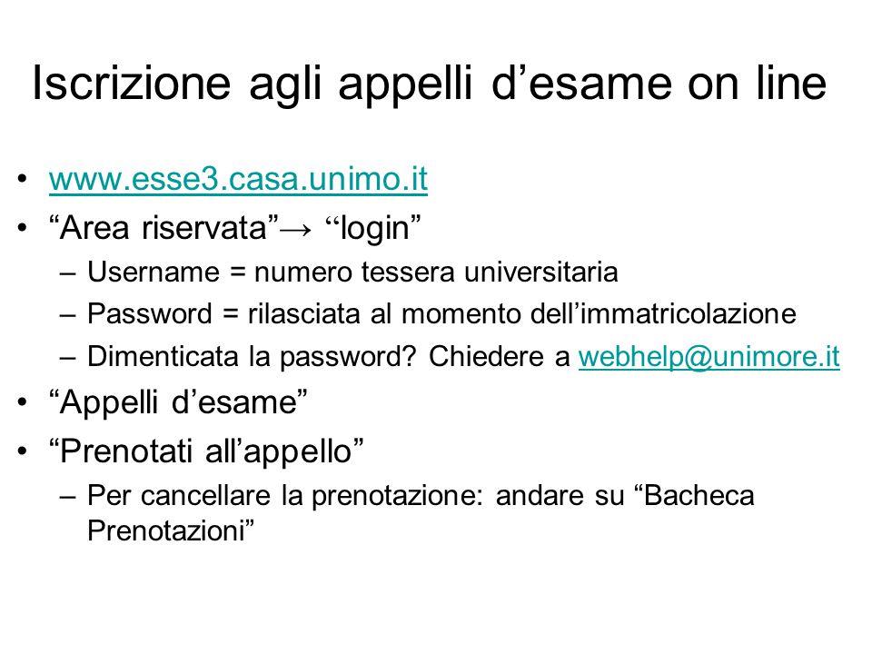 """Iscrizione agli appelli d'esame on line www.esse3.casa.unimo.it """"Area riservata"""" → """" login"""" –Username = numero tessera universitaria –Password = rilas"""