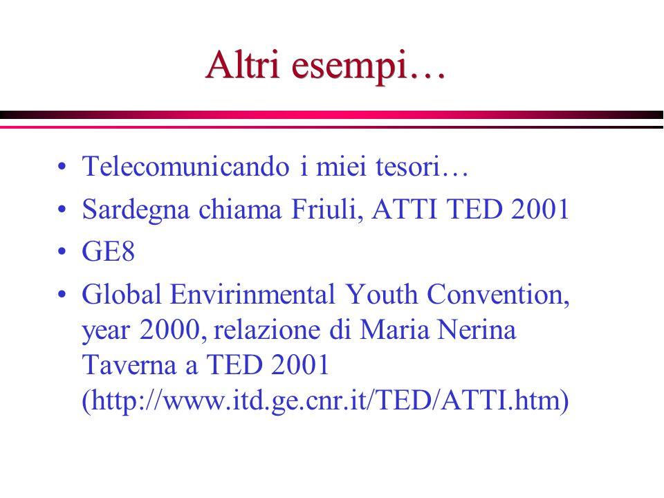 Altri esempi… Telecomunicando i miei tesori… Sardegna chiama Friuli, ATTI TED 2001 GE8 Global Envirinmental Youth Convention, year 2000, relazione di Maria Nerina Taverna a TED 2001 (http://www.itd.ge.cnr.it/TED/ATTI.htm)